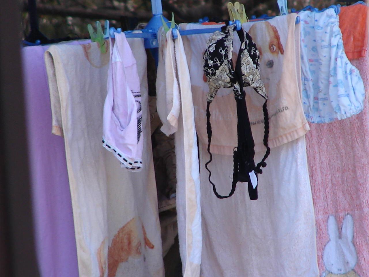 若い素人妻が暮らすベランダに干された洗濯物のブラやパンティーの下着エロ画像 2235