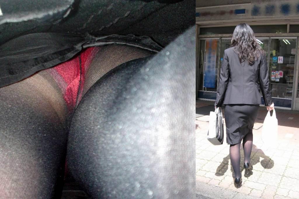 仕事で蒸れてる素人のパンティー!!OLの逆さパンチラとストッキングの街撮りエロ画像 2255