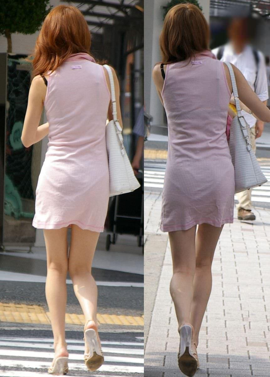 おパンティー透け透けのセクシーギャルを街撮りした透けパンチラエロ画像 33