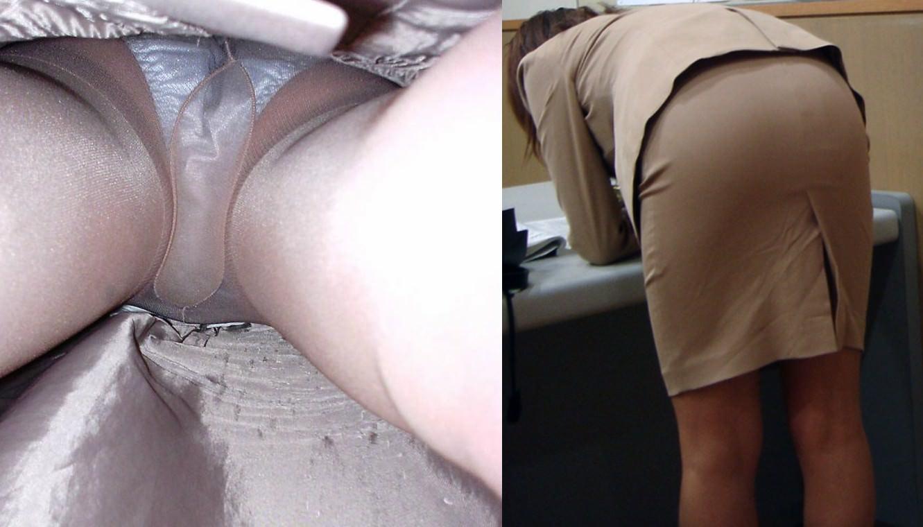 仕事で蒸れてる素人のパンティー!!OLの逆さパンチラとストッキングの街撮りエロ画像 399