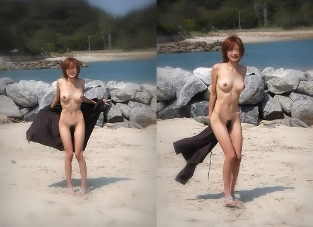 当然海で遊ぶときは全裸でしょwwwド変態すっぽんぽん女の露出素人エロ画像 1019