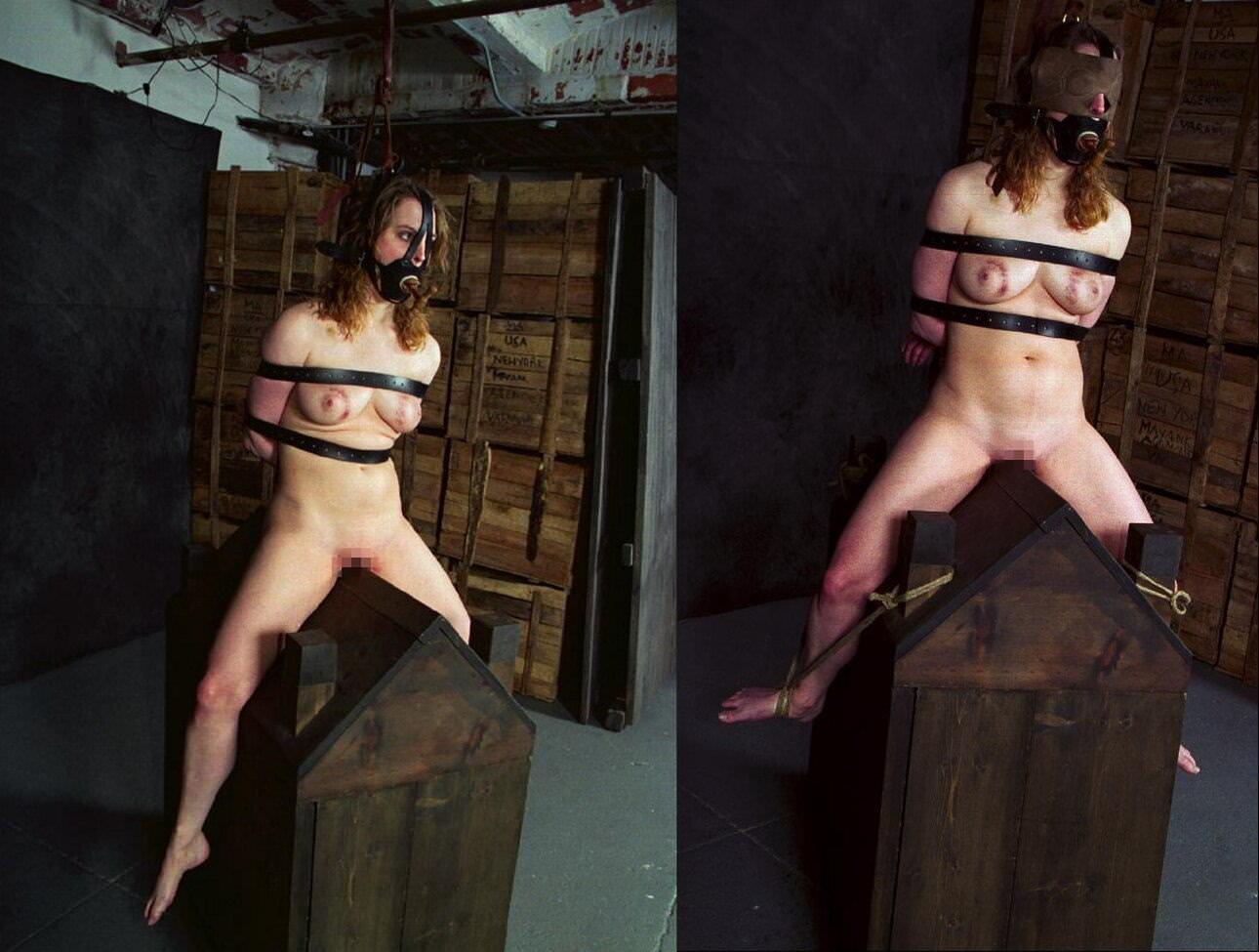 三角木馬で調教されてる美女がガチ絶叫wwwwの拷問SMエロ画像 1077