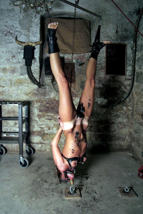 女を縄で縛って逆さ吊り調教したSMエロ画像 2251