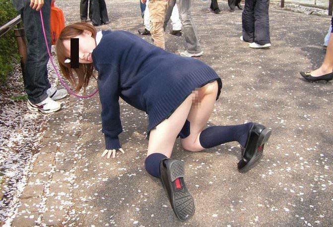 緊縛された素人女子が野外露出で調教されちゃうSMエロ画像 4100
