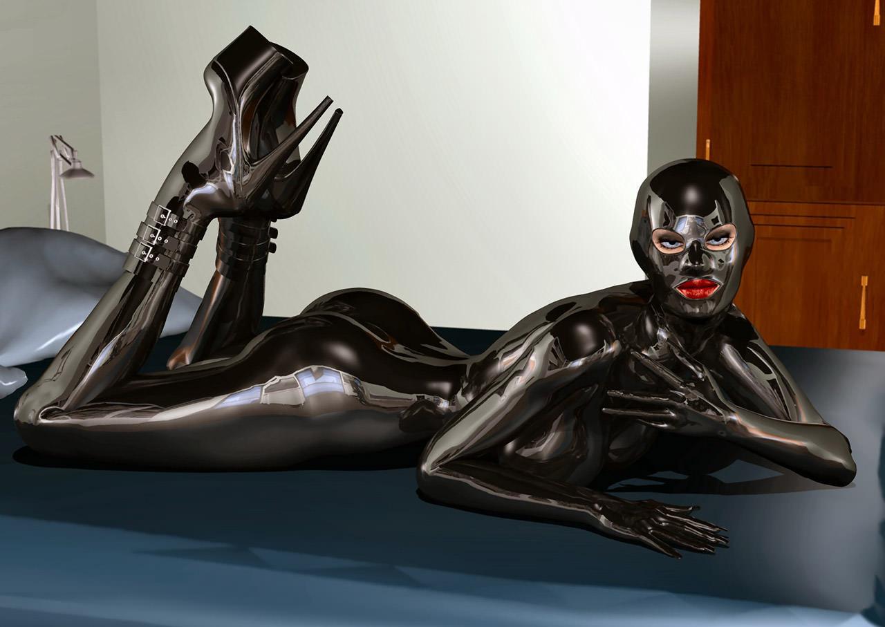 ラバースーツに拘束された海外美女のコスプレSMエロ画像 592
