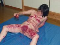 被虐的な事で性的興奮を呼び起こすドM変態女のローソクプレイエロ画像