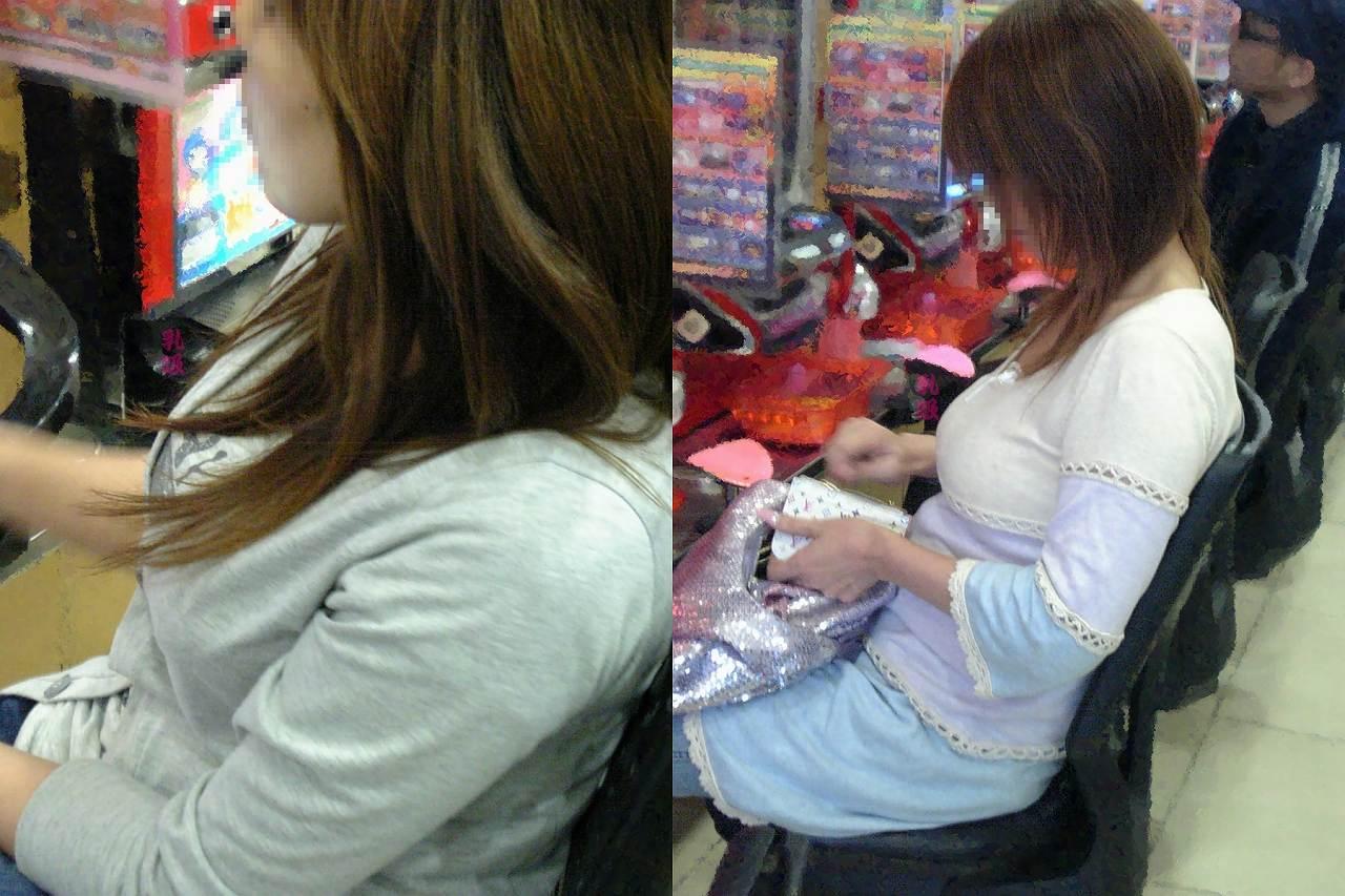 パチンコ店でリアル盗撮されたおっぱいとか胸チラお尻の素人エロ画像 1106
