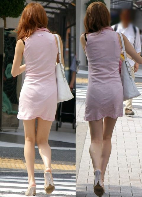 お色気たっぷりシースルーな服でおっぱいマンコが透けてる街撮りエロ画像 112