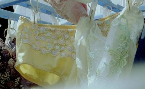 クロッチに染み付いた匂いが洗濯物から匂いそうなガチ盗撮下着エロ画像 1424