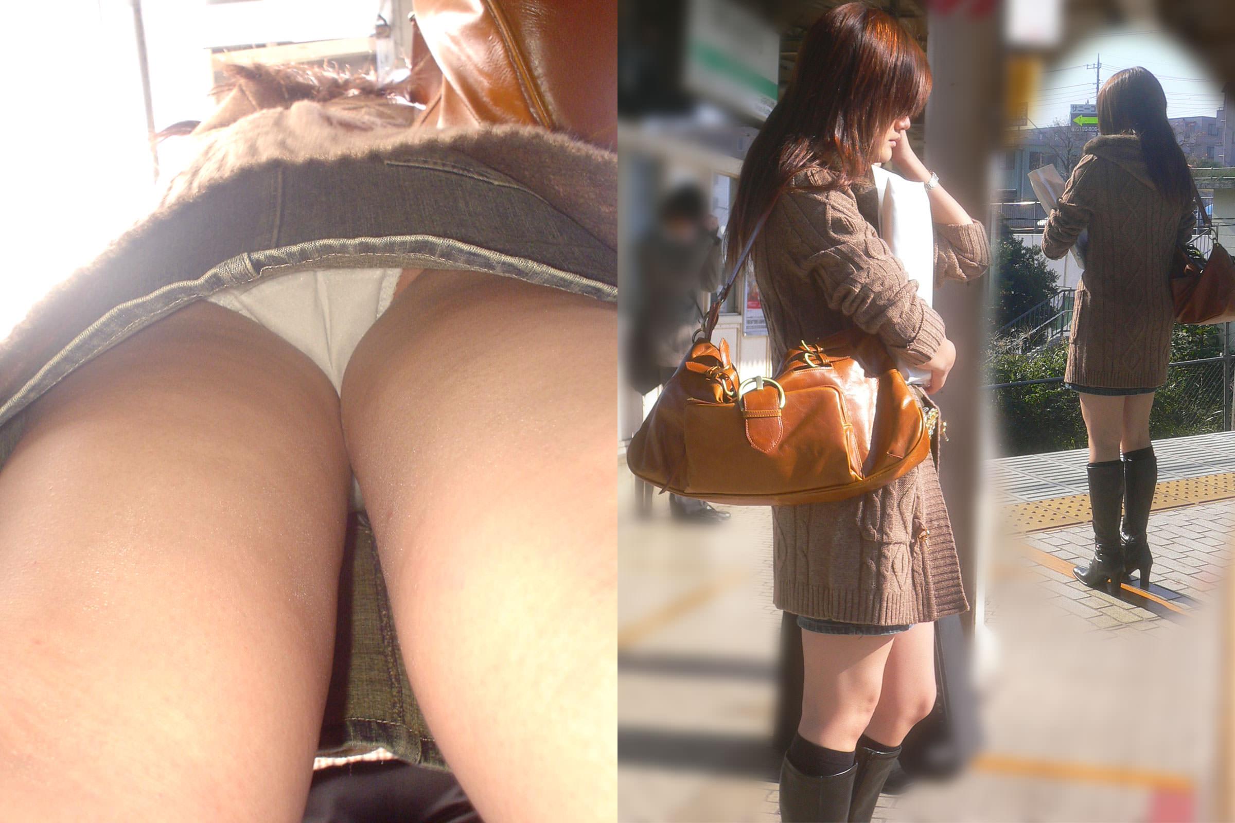 ミニスカにロングブーツで寒さに耐るお姉さんのパンチラ街撮り盗撮wwww 2329