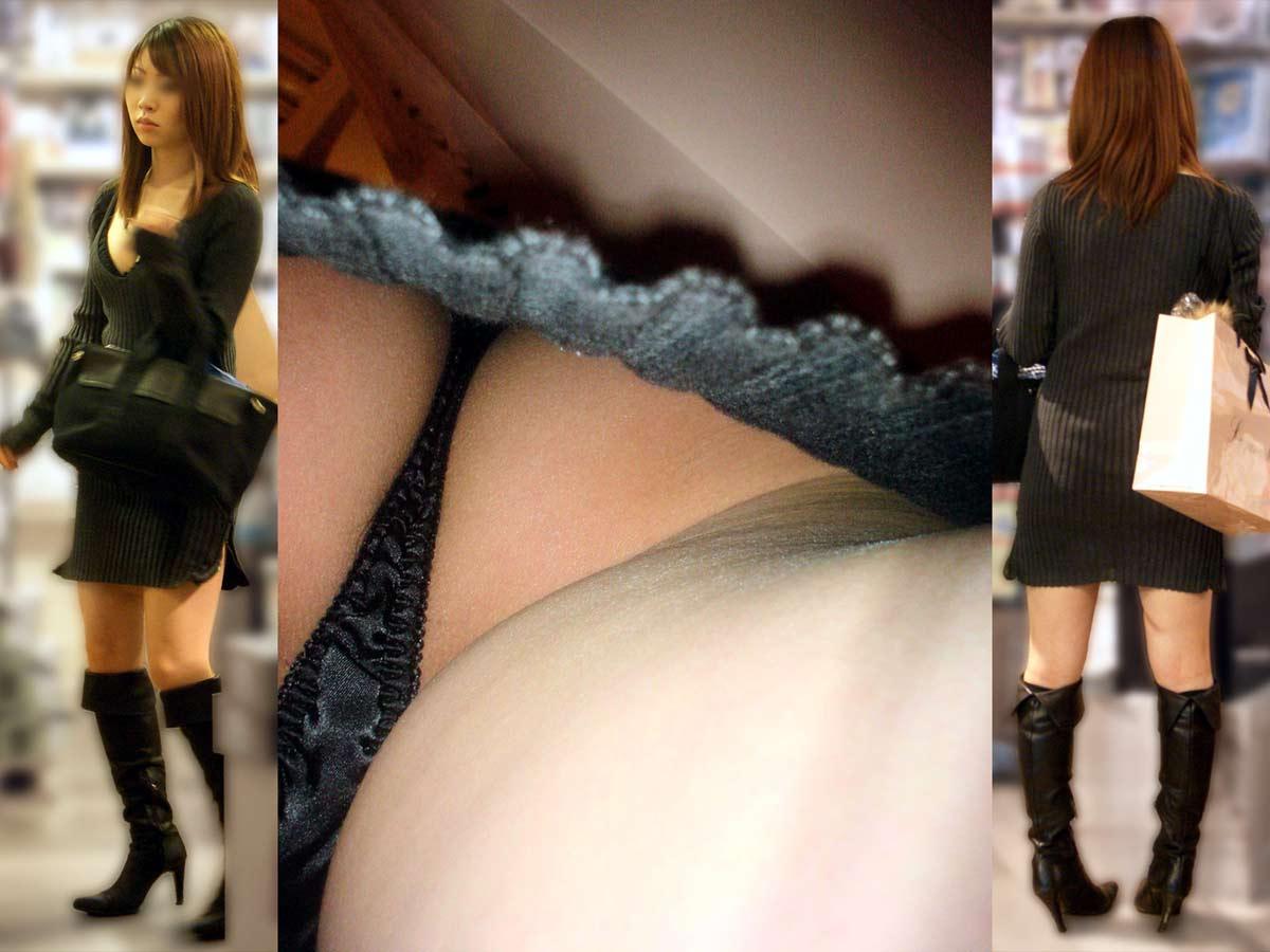 ミニスカにロングブーツで寒さに耐るお姉さんのパンチラ街撮り盗撮wwww 2525