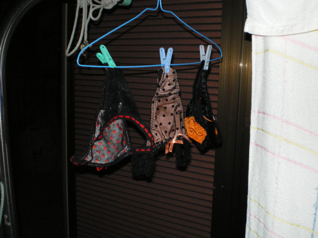 クロッチに染み付いたマンカスが洗濯物から匂いそうなガチ盗撮下着エロ画像 2619