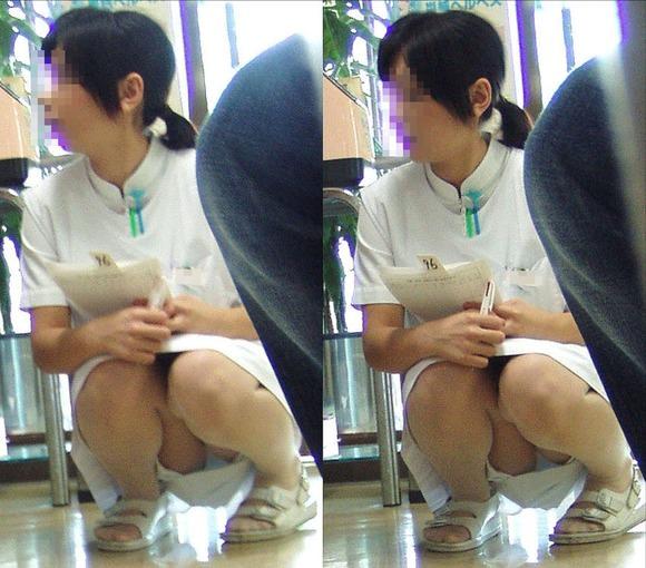 スケベな病人がナースのスカートの中身をガチ盗撮したパンチラ素人エロ画像 89