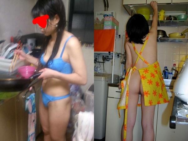 おぉー裸エプロンってぇー裸族な素人妻さん達って家事も全裸や下着姿で最高っすーwwwwww 012