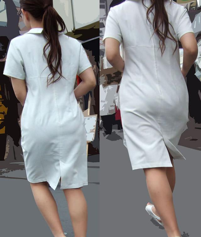 【ナース隠し撮り】いい匂いがする看護婦さんの透けパンツを街撮り激写wwwww 0604