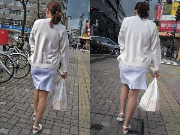 【ナース隠し撮り】いい匂いがする看護婦さんの透けパンツを街撮り激写wwwww thumb6