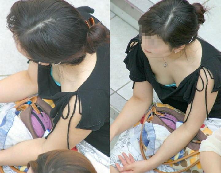 【盗撮】あと僅かで乳首見えそう胸元ゆる杉www胸チラ街撮りwww 1343