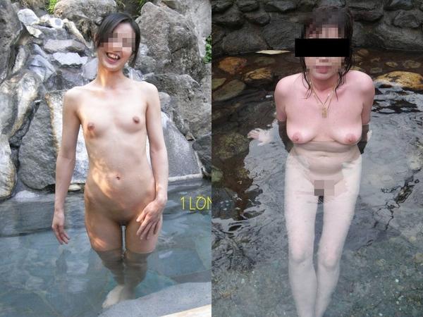 【温泉露出】開放的な露天風呂で全裸姿を笑顔で撮影してもらう素人さんwww 01 19