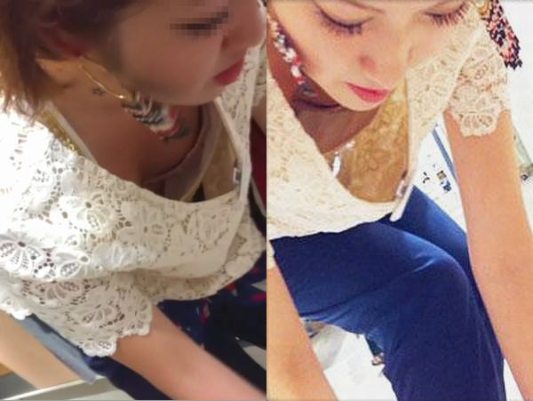 アパレル店員の胸チラリズム☆☆☆モデルなオネエさんを隠し撮りwwwwww