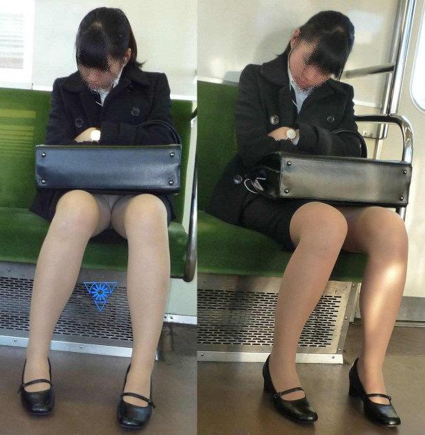 電車内って視線を低くするだけでパンチラ天国だろ!!!パンツモロ見え隠し撮りwwww 1640