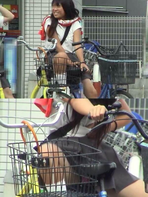 チャリ漕いで必死に学校へ向かう女子高生の街撮り画像wwwww 0829
