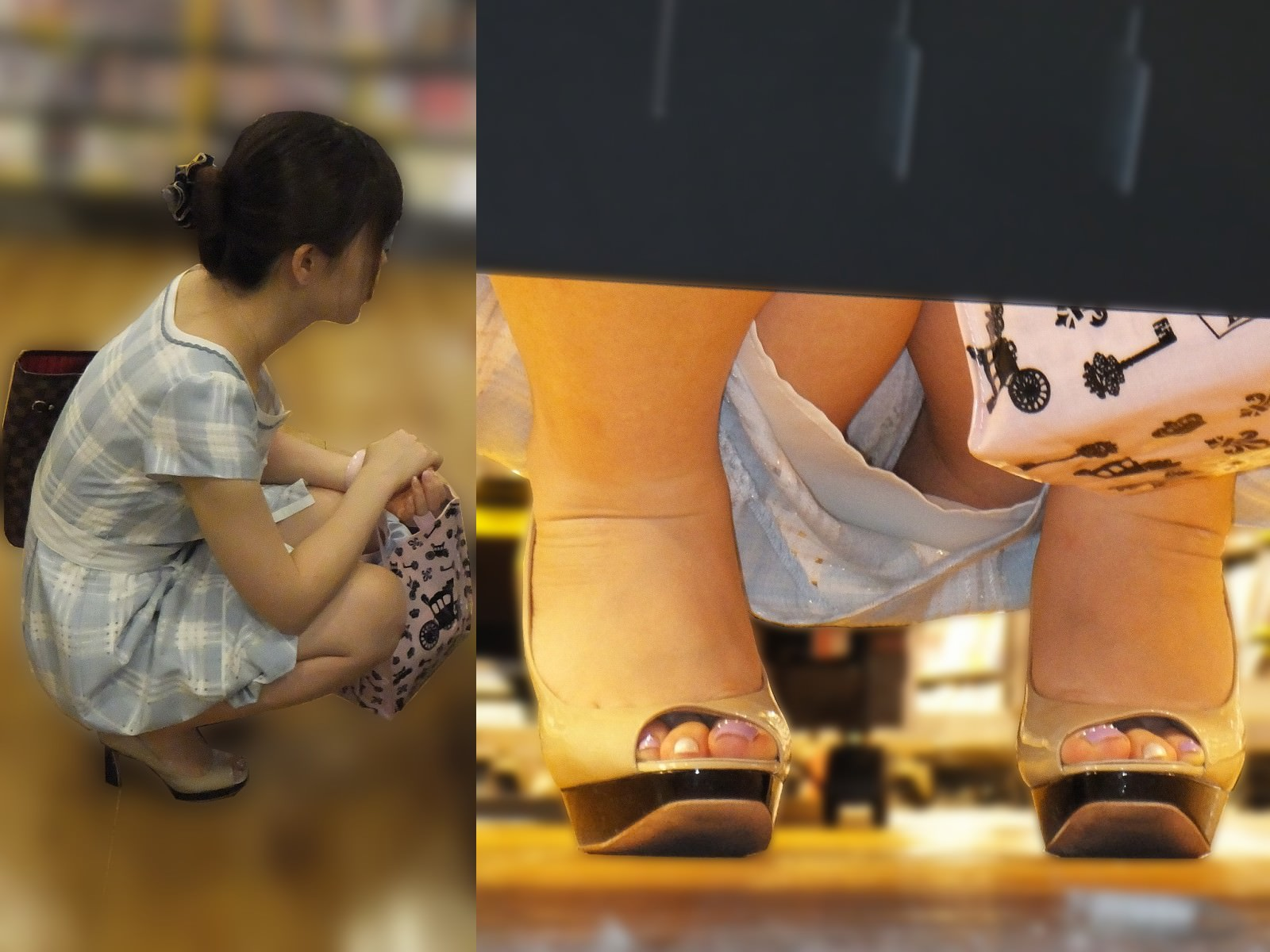 店内棚越しにしゃがみパンチラしてるOLやお姉さんの盗撮素人画像wwwww 18126