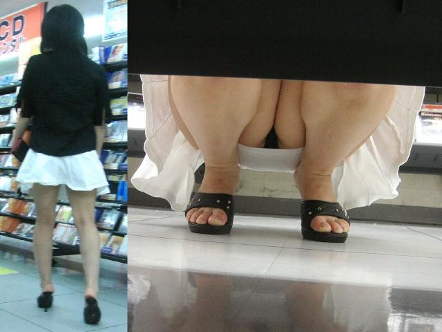 店内棚越しにしゃがみパンチラしてるOLやお姉さんの盗撮素人画像wwwww 18132