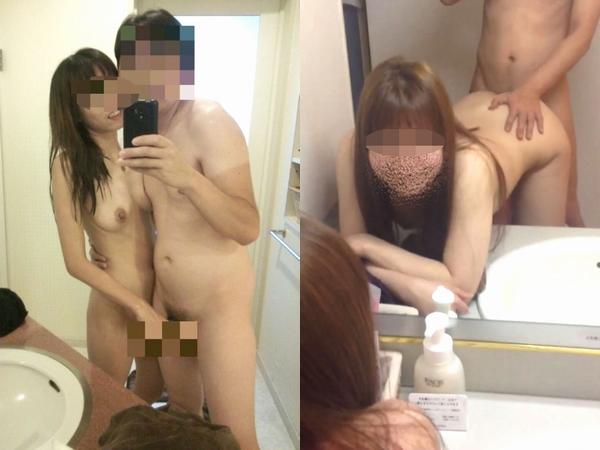 ホテルでイヤらしい気分になってるカップルが鏡前でハメ撮りだぁーwww可愛い彼女が彼氏のチンコ握ってエロ写メ撮影wwww 01 18
