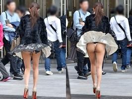 エチエチまんさん街撮りしたら、スカートがめくれてTバックが現れるwwwwwwwwwww