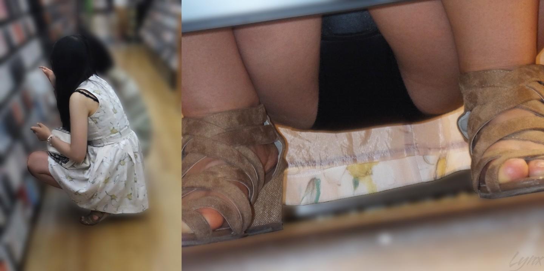 レンタルショップで女性客のパンツ撮影してるパンチラ画像 75kSX1BR7rkUV
